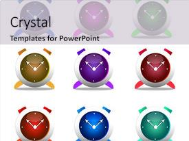Amazing PPT theme having set of colorful clocks backdrop and a light gray colored foreground.