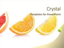 Amazing PPT theme having set of different citrus slices backdrop and a cream colored foreground