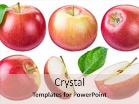Beautiful slides featuring set of ripe red apples and apple slices file contains clipping path backdrop and a lemonade colored foreground.