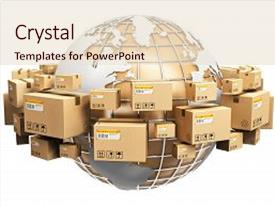 PPT theme enhanced with shipping and worldwide delivery business background and a lemonade colored foreground.