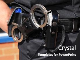 Theme having law - showing handcuffs and cs gas background and a dark gray colored foreground.