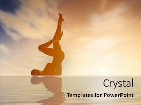 PPT layouts having silhouette young woman practicing yoga background and a lemonade colored foreground