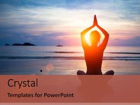 PPT layouts with silhouette young woman practicing yoga background and a red colored foreground