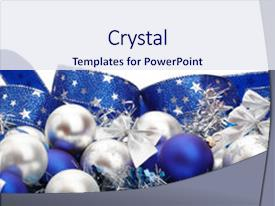 ppt theme consisting of silver and blue christmas decorations background and a sky blue colored foreground