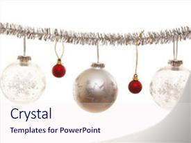 Beautiful PPT layouts featuring silver christmas ornament with decorative backdrop and a sky blue colored foreground.