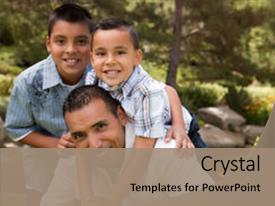 Amazing PPT layouts having single parent - father and sons portrait backdrop and a coral colored foreground.