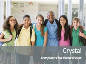 Presentation design having six students standing outside school background and a gray colored foreground.