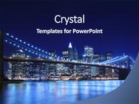 PPT theme having skyline at night new york background and a navy blue colored foreground.