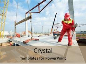 Colorful PPT layouts enhanced with slab panel at building construction backdrop and a coral colored foreground