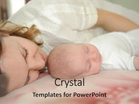 PPT layouts consisting of sleeping with her little baby background and a coral colored foreground.