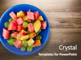 Colorful PPT layouts enhanced with sliced fruit on a wooden backdrop and a tawny brown colored foreground.