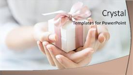 Amazing slide deck having small gift wrapped with pink backdrop and a light gray colored foreground
