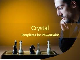 Colorful PPT theme enhanced with smart decision - chess player playing his game backdrop and a gold colored foreground