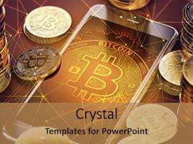 Presentation having smartphone with bitcoin on-screen among piles of bitcoins bitcoin in danger concept 3d rendering background and a coral colored foreground.