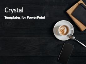 Amazing slides having smartphone with notebook and cup of coffee on wooden background top view copy space still life flat lay cafe backdrop and a black colored foreground