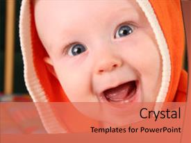 Slide deck with smiley face - smile baby boy with tooth background and a coral colored foreground.