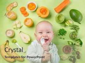 Amazing theme having smiling baby with baby food backdrop and a mint green colored foreground.