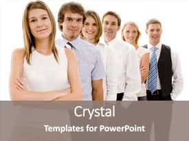 Audience pleasing presentation consisting of smiling group of business people backdrop and a gray colored foreground.