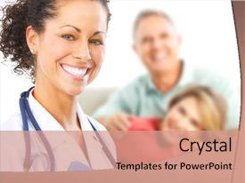 PPT theme consisting of smiling medical doctor with stethoscope background and a coral colored foreground.