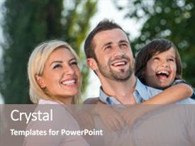 Colorful PPT theme enhanced with smiling parents with kid outdoors looking up backdrop and a gray colored foreground