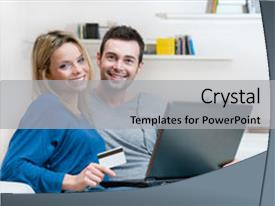 PPT layouts featuring smiling young couple making shopping background and a light gray colored foreground.
