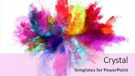 Slide deck having smoking - explosion of colored powder isolated background and a lavender colored foreground