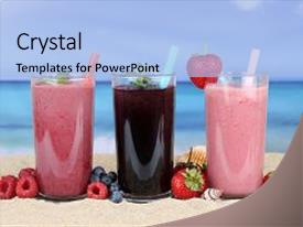 Audience pleasing PPT layouts consisting of smoothies fruit juice with fruits backdrop and a light blue colored foreground
