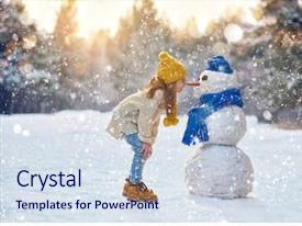 Presentation theme enhanced with snowman on a snowy winter background and a sky blue colored foreground