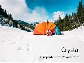 Slide deck consisting of snowshoes and a backpack stand on the snow near the orange tent equipment for a winter hike outdoor activities in the forest and mountains background and a  colored foreground.