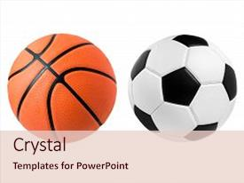 beautiful ppt theme featuring soccer ball and basketball ball backdrop and a lemonade colored foreground