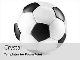PPT theme featuring soccer ball isolated on white background and a light gray colored foreground