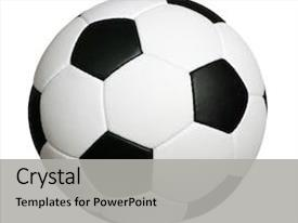 Beautiful PPT theme featuring soccer ball isolated on white backdrop and a light gray colored foreground