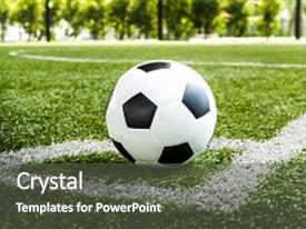Soccer powerpoint templates ppt themes with soccer backgrounds slides having soccer football on corner kick line of ball and a soccer field football field toneelgroepblik Choice Image