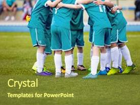 Colorful PPT theme enhanced with soccer players in aquamarine sports backdrop and a tawny brown colored foreground.