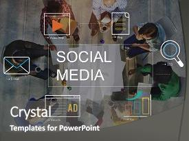 Presentation featuring social media advertisement connection concept background and a dark gray colored foreground.
