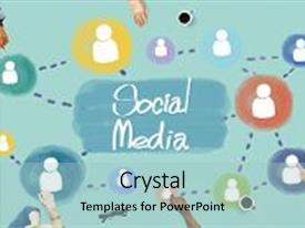 Audience pleasing PPT theme consisting of team - social media communication connection network backdrop and a light blue colored foreground