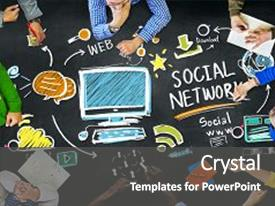 Amazing presentation theme having social network social media people backdrop and a dark gray colored foreground