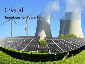 Presentation design consisting of solar energy panels wind turbines background and a  colored foreground.