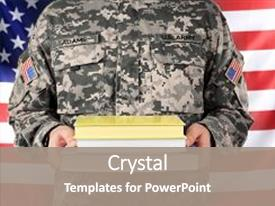 Audience pleasing PPT theme consisting of soldier holding books military education backdrop and a  colored foreground.
