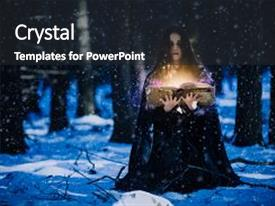PPT theme enhanced with art - sorceress celebrating the magic background and a dark gray colored foreground.