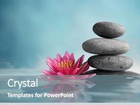 Cool new presentation theme with spa still life with water backdrop and a seafoam green colored foreground