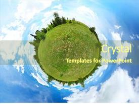 PPT layouts enhanced with spherical panorama of a green background and a tawny brown colored foreground