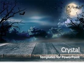 PPT layouts enhanced with spooky halloween background with empty background and a ocean colored foreground
