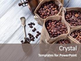 PPT layouts consisting of coffee - spoon with some jute bags background and a gray colored foreground.