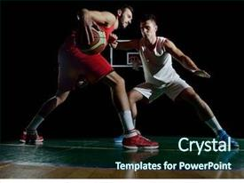 Slide deck enhanced with sports - basketball game sport player background and a wine colored foreground