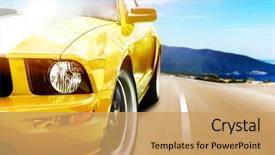 Presentation featuring sports - yellow sport car background and a yellow colored foreground