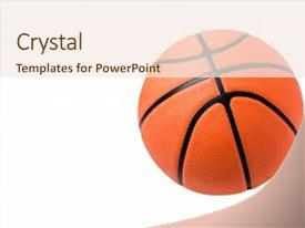 presentation theme enhanced with sports basketball ball over white background background and a cream colored