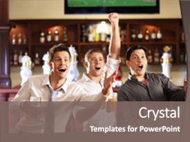 PPT theme with sports pub - young people with beer watching background and a gray colored foreground.