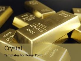 Audience pleasing presentation theme consisting of stack close-up gold bars weight of gold bars 1000 grams concept of wealth and reserve concept of success in business and finance 3d rendering backdrop and a gold colored foreground.