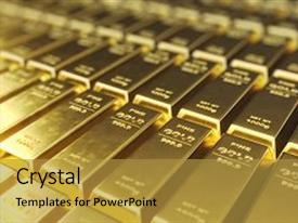 Audience pleasing slide set consisting of stack close-up gold bars weight of gold bars 1000 grams concept of wealth and reserve concept of success in business and finance 3d rendering backdrop and a gold colored foreground.